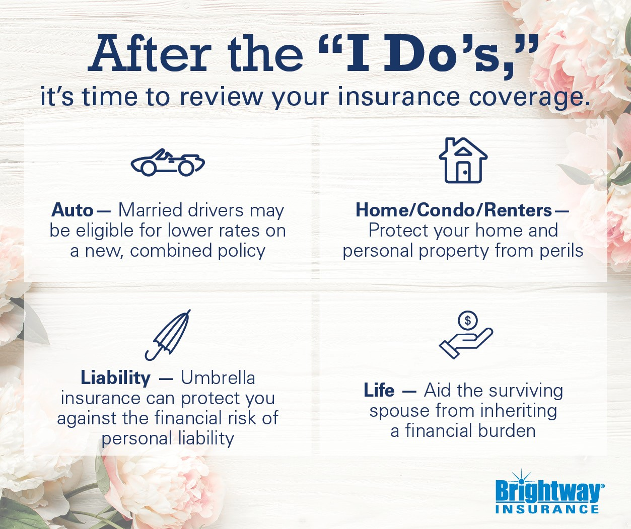 An infographic with insurance tips. After the I dos it's time to review your coverage. Auto - Married drivers may be eligible for a new, combined auto policy. Home/Condo/Renters - Protect your home and personal property from perils. Liability - Umbrella insurance can protect you against the financial risk of personal liability. Life - Aid the surviving spouse from inheriting a financial burden.